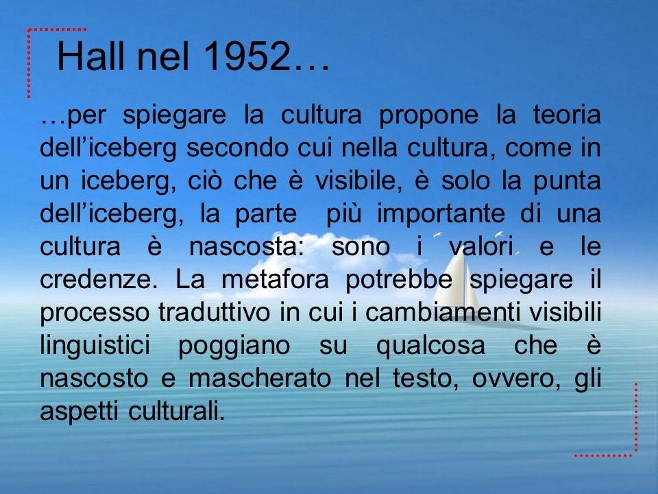 Hall nel 1952… …per spiegare la cultura propone la teoria delliceberg secondo cui nella cultura, come in un iceberg, ciò che è visibile, è solo la pun