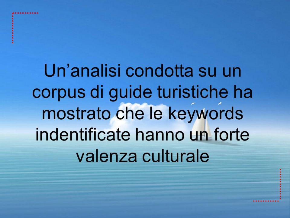 Unanalisi condotta su un corpus di guide turistiche ha mostrato che le keywords indentificate hanno un forte valenza culturale