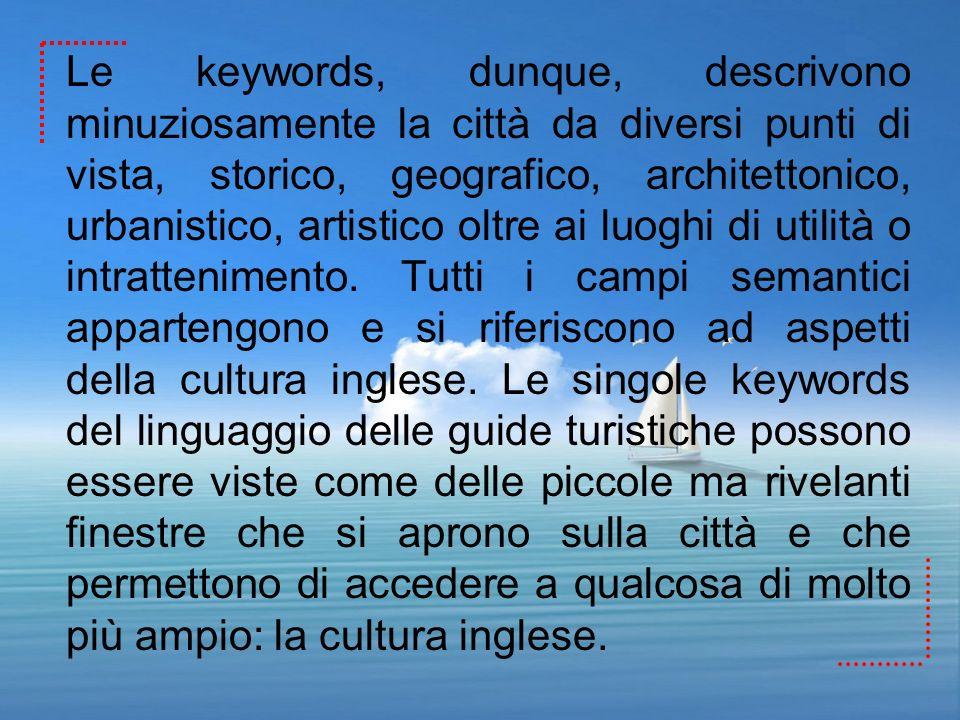 Le keywords, dunque, descrivono minuziosamente la città da diversi punti di vista, storico, geografico, architettonico, urbanistico, artistico oltre a