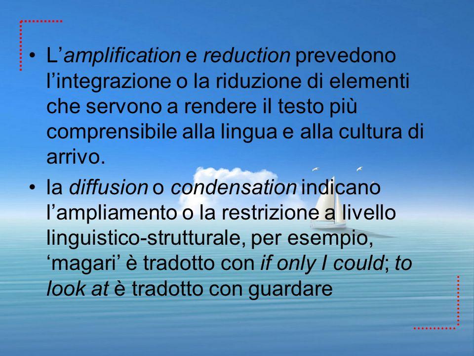 Lamplification e reduction prevedono lintegrazione o la riduzione di elementi che servono a rendere il testo più comprensibile alla lingua e alla cult