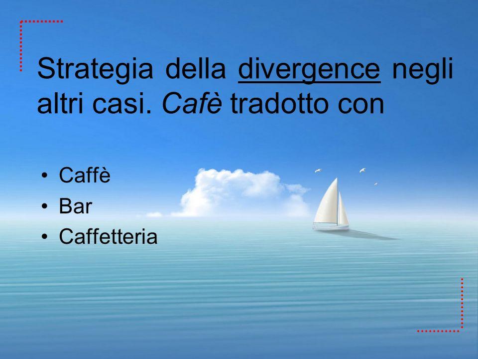 Strategia della divergence negli altri casi. Cafè tradotto con Caffè Bar Caffetteria