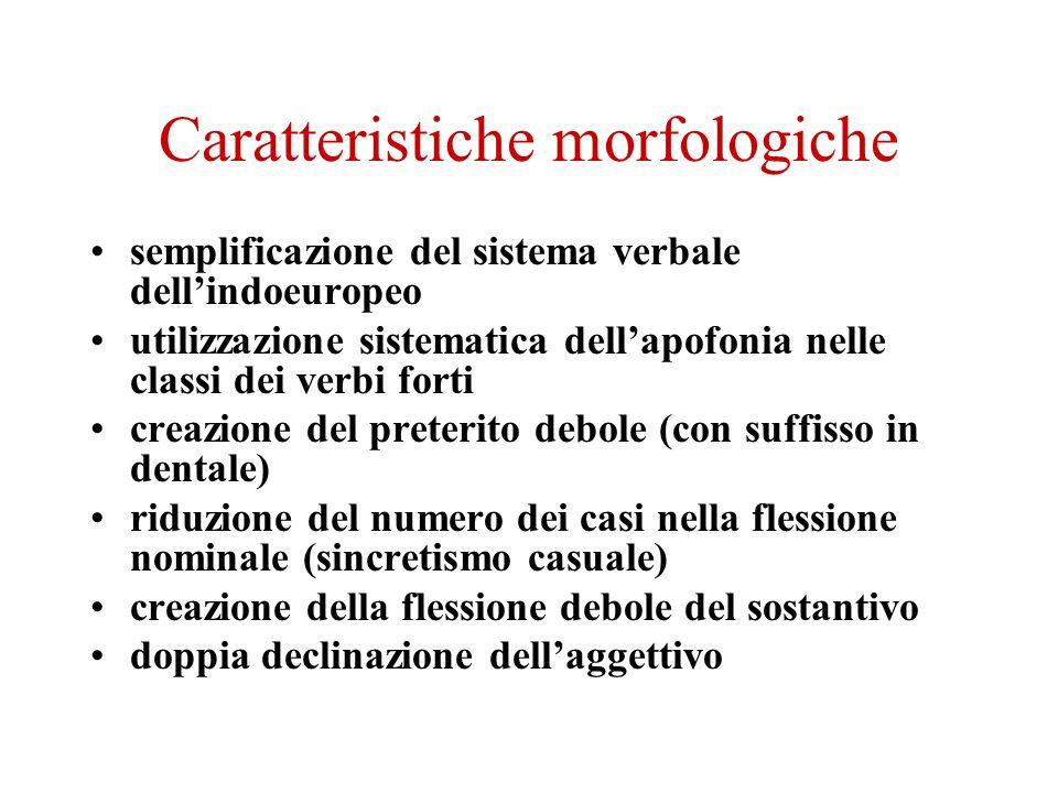 Caratteristiche morfologiche semplificazione del sistema verbale dellindoeuropeo utilizzazione sistematica dellapofonia nelle classi dei verbi forti c