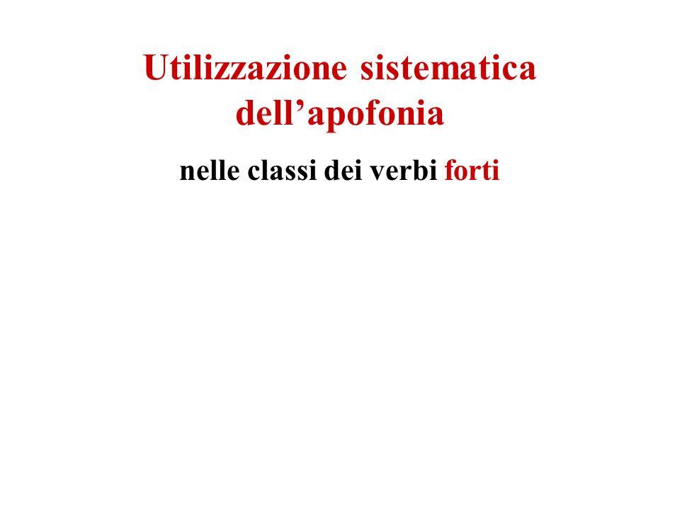 Utilizzazione sistematica dellapofonia nelle classi dei verbi forti
