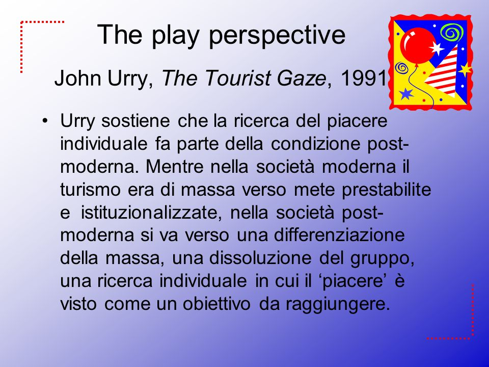 john urry tourist gaze April 12, 2016 tcs a mobile life: john urry, 1946-2016 peter adey john urry was an extraordinary, generous and compelling force as is evident in the hundreds of tributes and testimonials to his memory gathered already, his work influenced so many people through his talks at conferences, his published words in the pages of journals and.