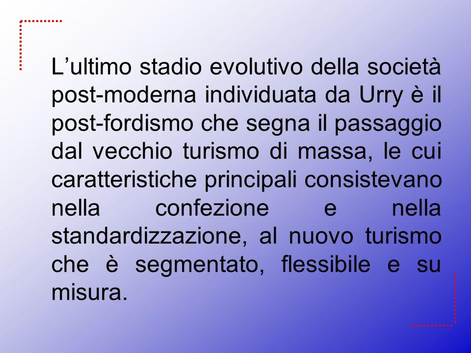 Lultimo stadio evolutivo della società post-moderna individuata da Urry è il post-fordismo che segna il passaggio dal vecchio turismo di massa, le cui