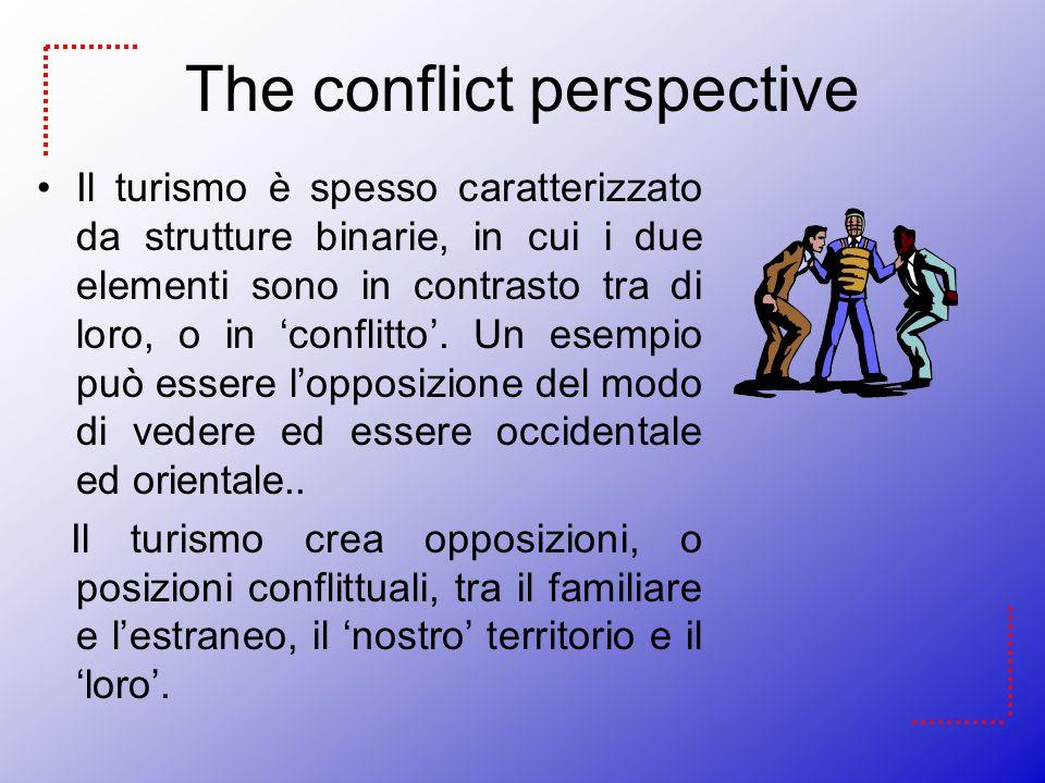 The conflict perspective Il turismo è spesso caratterizzato da strutture binarie, in cui i due elementi sono in contrasto tra di loro, o in conflitto.