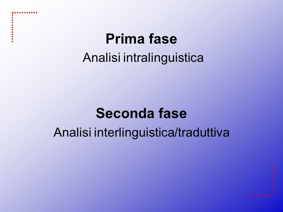 Prima fase Analisi intralinguistica Seconda fase Analisi interlinguistica/traduttiva