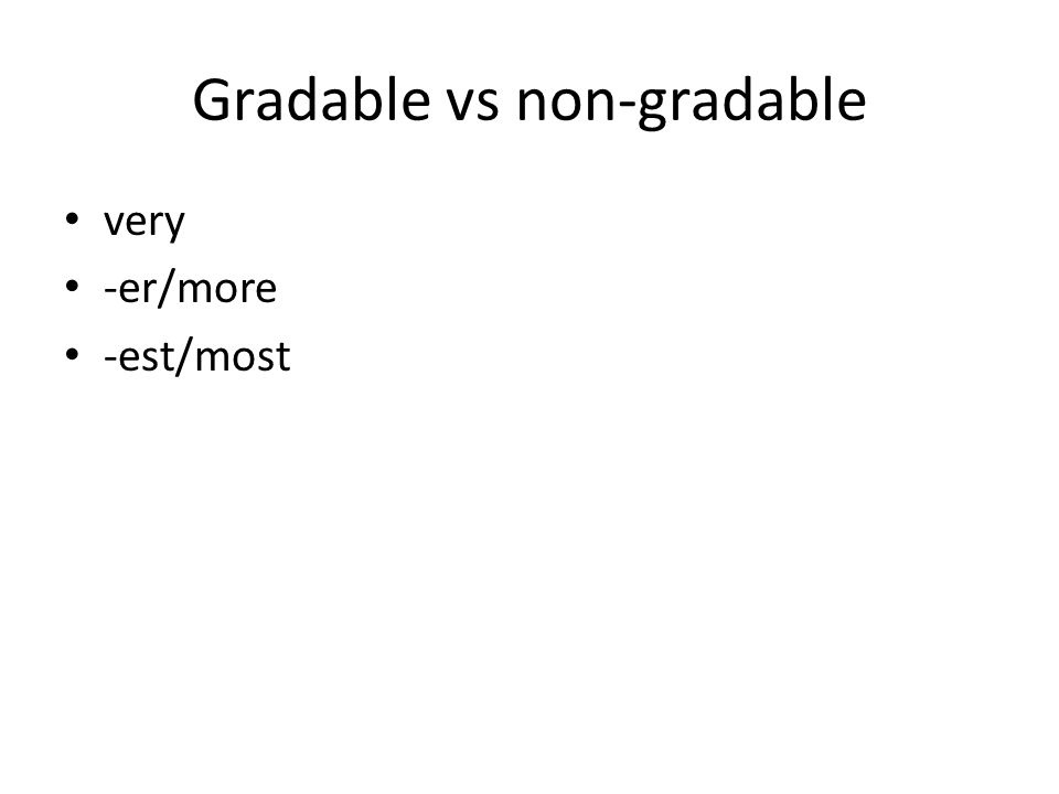 Gradable vs non-gradable very -er/more -est/most
