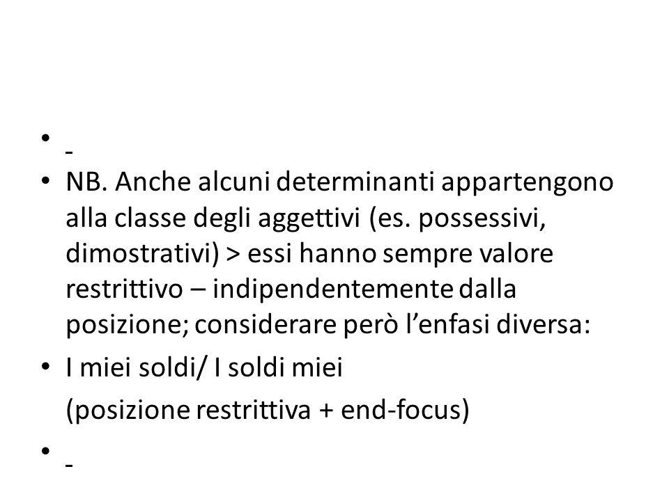 NB. Anche alcuni determinanti appartengono alla classe degli aggettivi (es.
