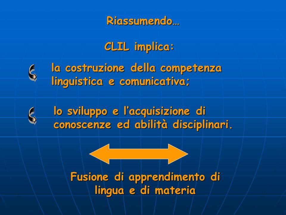 Riassumendo… CLIL implica: la costruzione della competenza linguistica e comunicativa; lo sviluppo e lacquisizione di conoscenze ed abilità disciplina