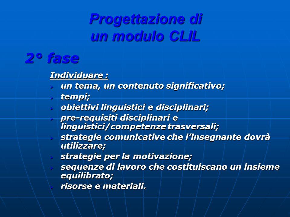 Progettazione di un modulo CLIL 2° fase Individuare : un tema, un contenuto significativo; un tema, un contenuto significativo; tempi; tempi; obiettiv