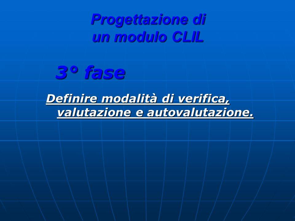 Progettazione di un modulo CLIL 3° fase Definire modalità di verifica, valutazione e autovalutazione.