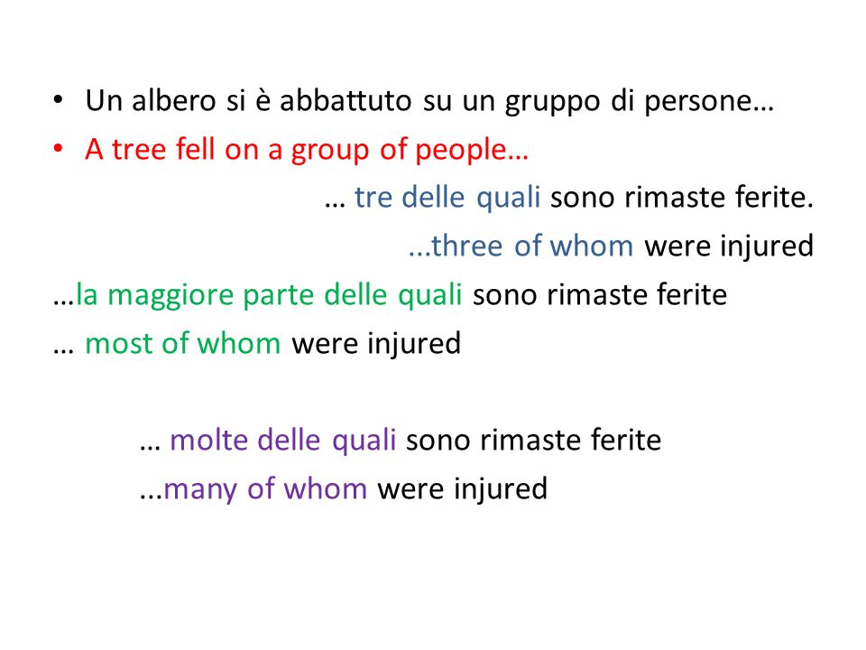Un albero si è abbattuto su un gruppo di persone… A tree fell on a group of people… … tre delle quali sono rimaste ferite....three of whom were injured …la maggiore parte delle quali sono rimaste ferite … most of whom were injured … molte delle quali sono rimaste ferite...many of whom were injured