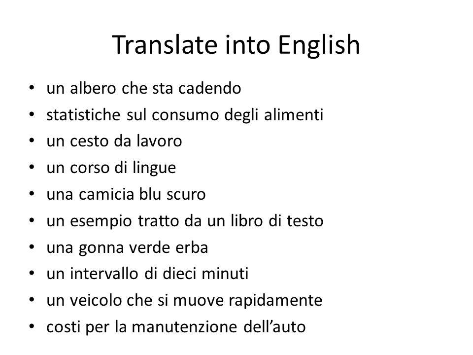 Translate into English un albero che sta cadendo statistiche sul consumo degli alimenti un cesto da lavoro un corso di lingue una camicia blu scuro un