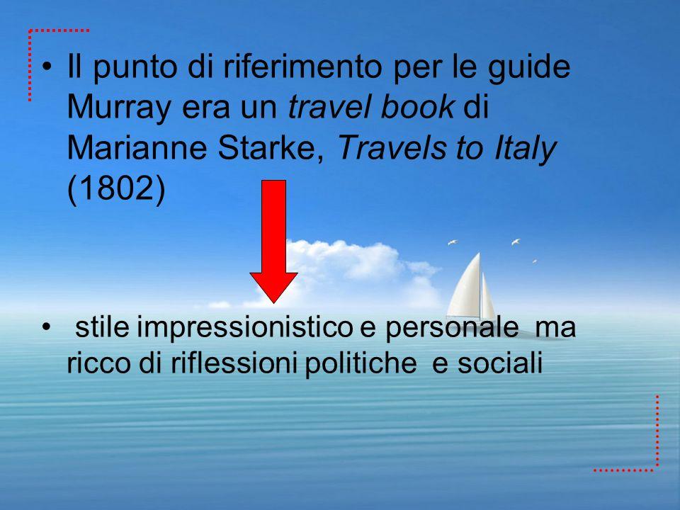 Il punto di riferimento per le guide Murray era un travel book di Marianne Starke, Travels to Italy (1802) stile impressionistico e personale ma ricco