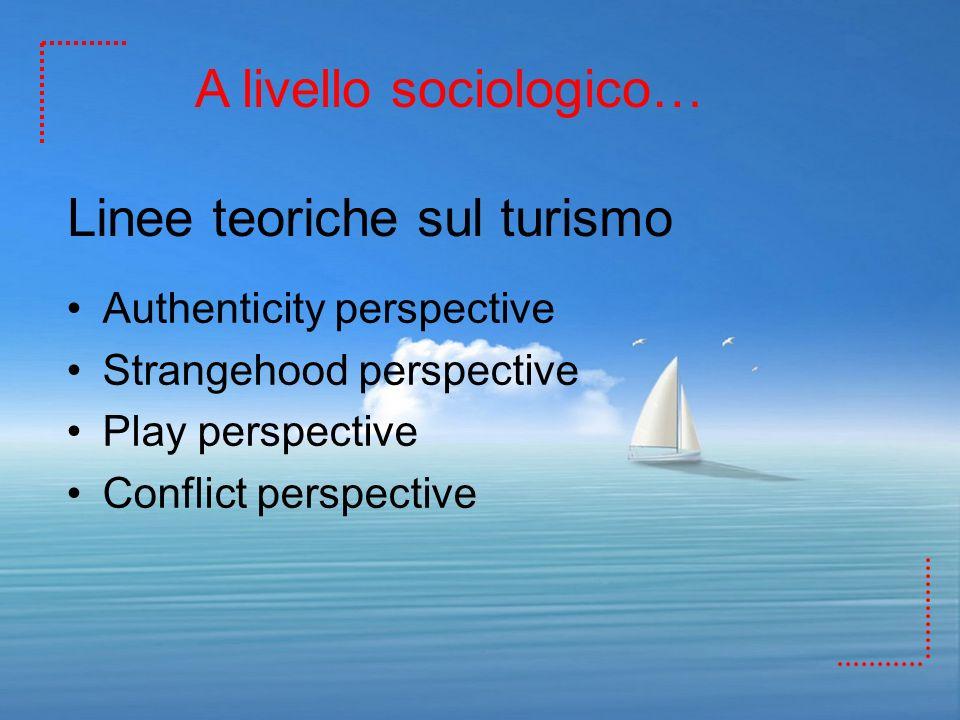 Linee teoriche sul turismo Authenticity perspective Strangehood perspective Play perspective Conflict perspective A livello sociologico…