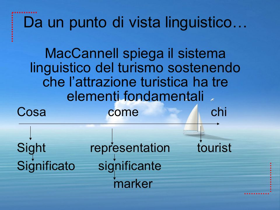 Da un punto di vista linguistico… MacCannell spiega il sistema linguistico del turismo sostenendo che lattrazione turistica ha tre elementi fondamenta