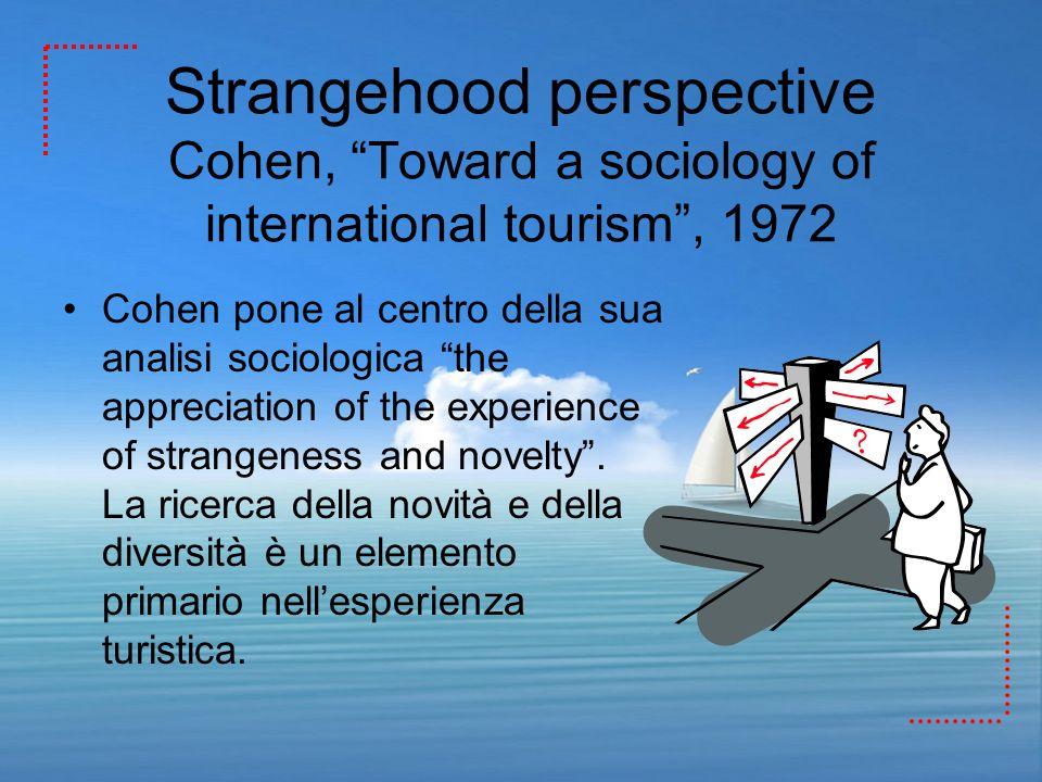 Strangehood perspective Cohen, Toward a sociology of international tourism, 1972 Cohen pone al centro della sua analisi sociologica the appreciation o