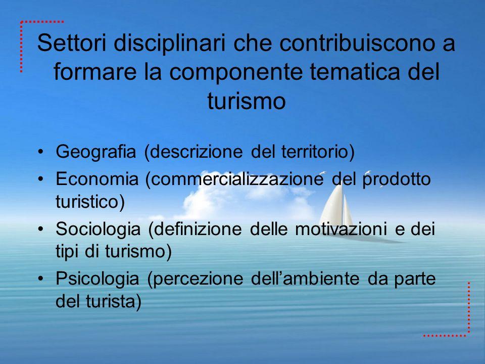 Settori disciplinari che contribuiscono a formare la componente tematica del turismo Geografia (descrizione del territorio) Economia (commercializzazi