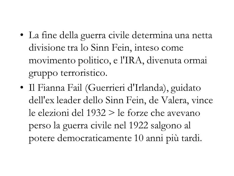La fine della guerra civile determina una netta divisione tra lo Sinn Fein, inteso come movimento politico, e l'IRA, divenuta ormai gruppo terroristic