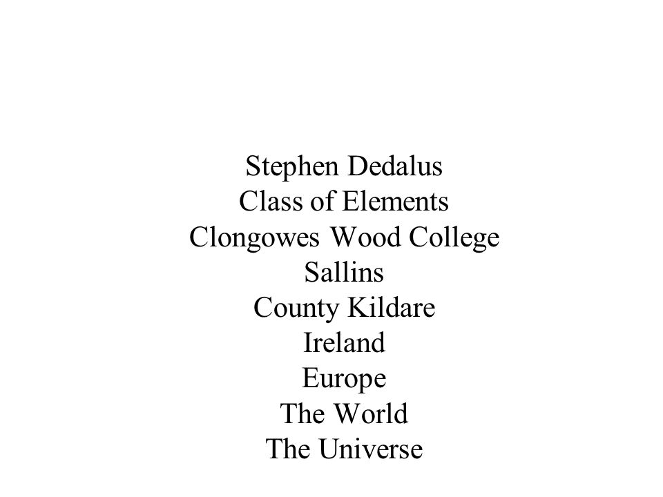Stephen Dedalus Class of Elements Clongowes Wood College Sallins County Kildare Ireland Europe The World The Universe