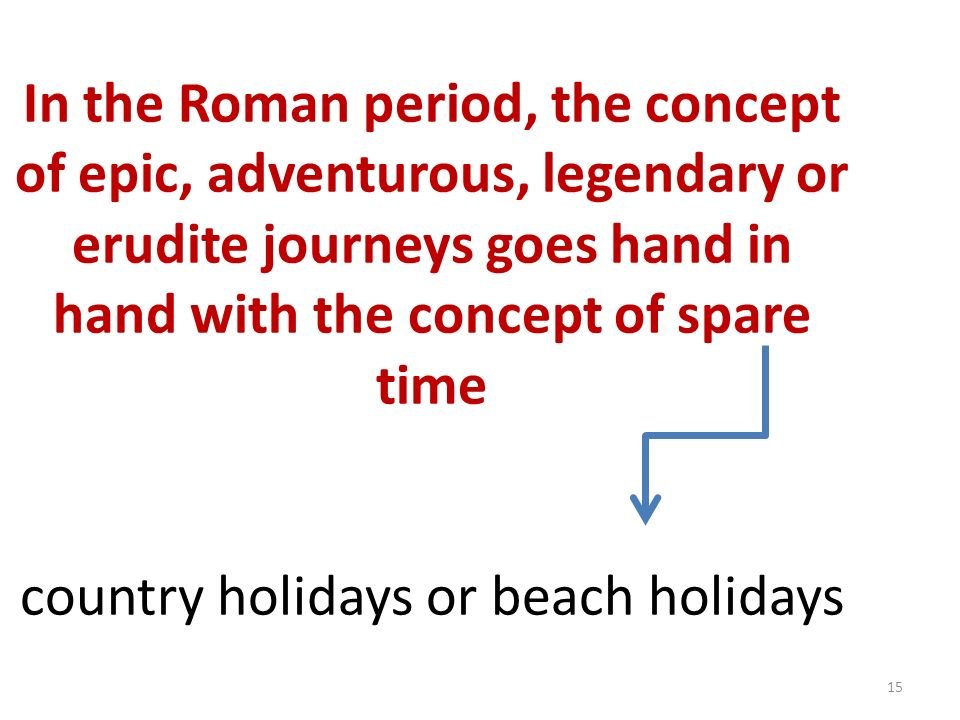 15 In the Roman period, the concept of epic, adventurous, legendary or erudite journeys goes hand in hand with the concept of spare time country holidays or beach holidays