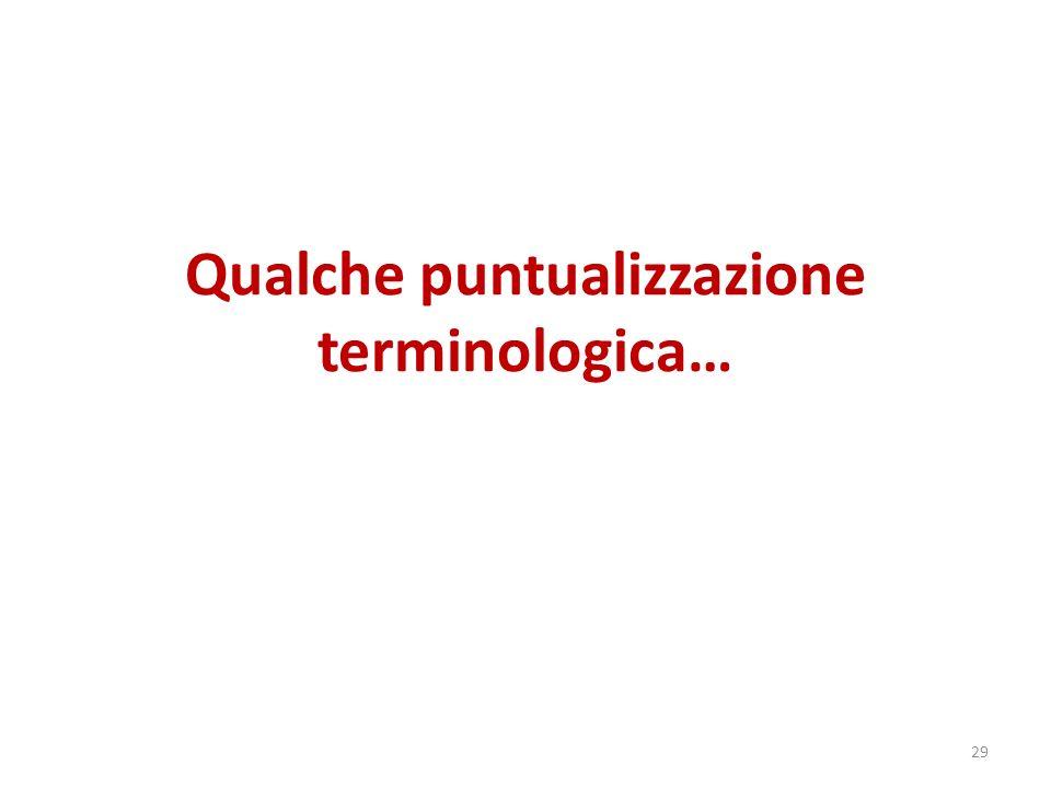 Qualche puntualizzazione terminologica… 29