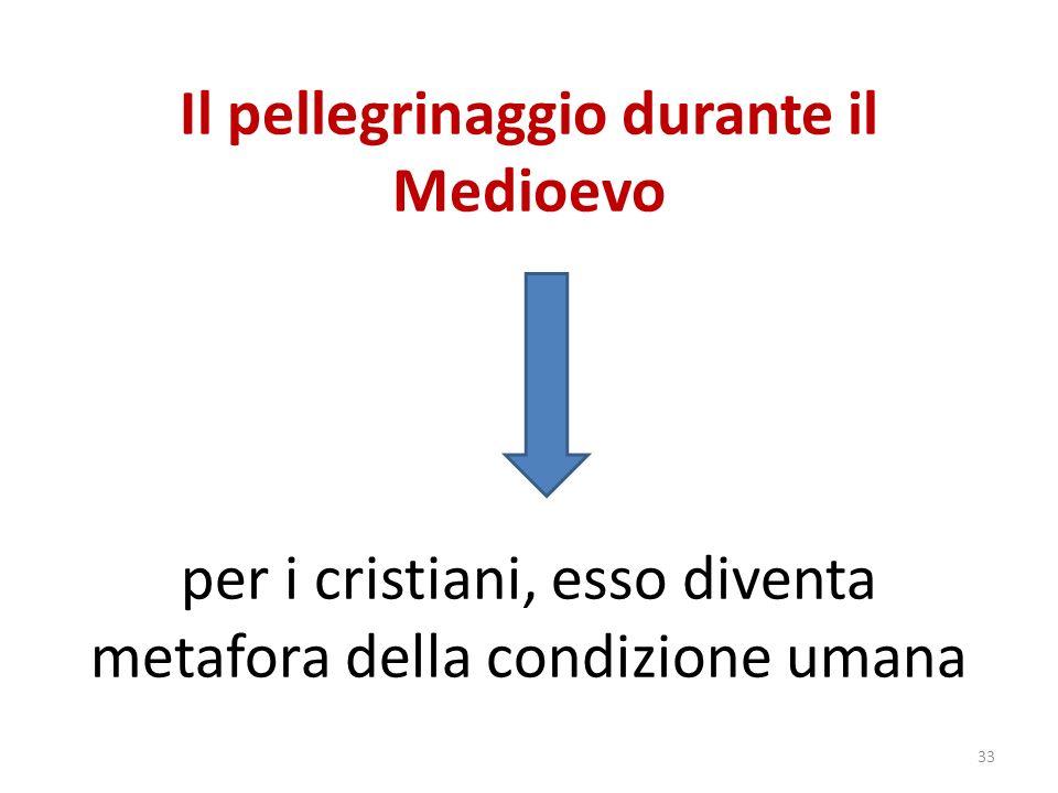 Il pellegrinaggio durante il Medioevo per i cristiani, esso diventa metafora della condizione umana 33