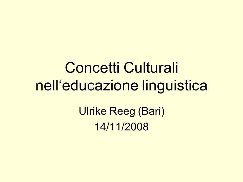 Concetti Culturali nelleducazione linguistica Ulrike Reeg (Bari) 14/11/2008
