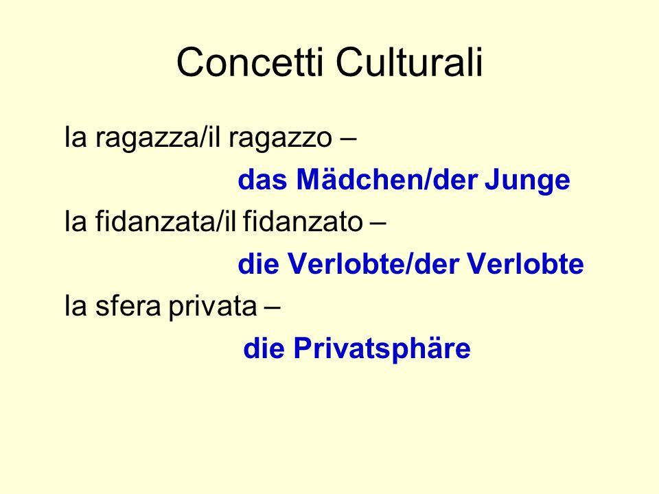 Concetti Culturali la ragazza/il ragazzo – das Mädchen/der Junge la fidanzata/il fidanzato – die Verlobte/der Verlobte la sfera privata – die Privatsp