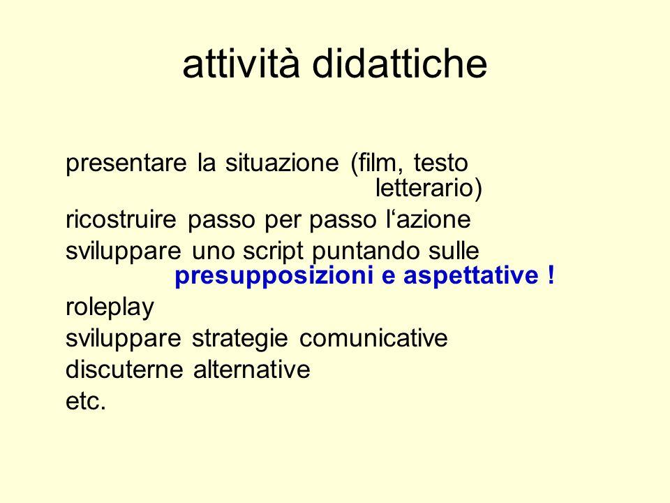 attività didattiche presentare la situazione (film, testo letterario) ricostruire passo per passo lazione sviluppare uno script puntando sulle presupposizioni e aspettative .