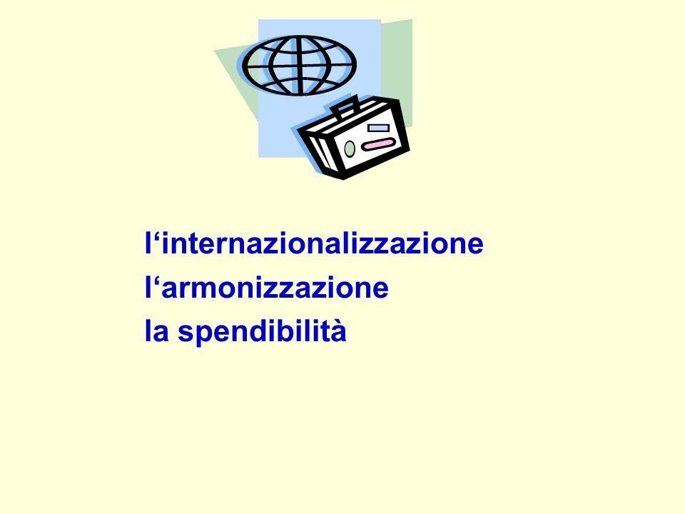 linternazionalizzazione larmonizzazione la spendibilità