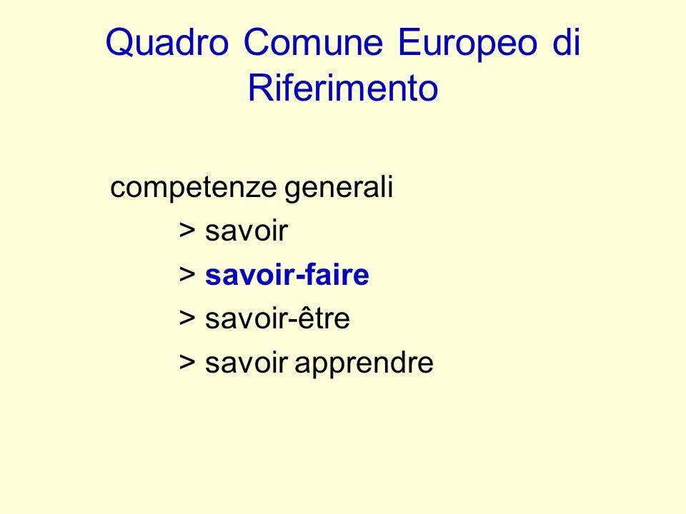 Quadro Comune Europeo di Riferimento competenze generali > savoir > savoir-faire > savoir-être > savoir apprendre