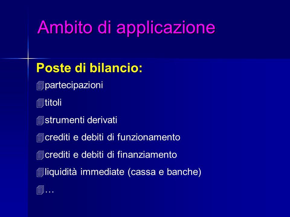 Ambito di applicazione Ambito di applicazione Poste di bilancio: 4partecipazioni 4titoli 4strumenti derivati 4crediti e debiti di funzionamento 4credi