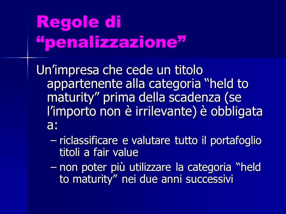 Regole di penalizzazione Unimpresa che cede un titolo appartenente alla categoria held to maturity prima della scadenza (se limporto non è irrilevante