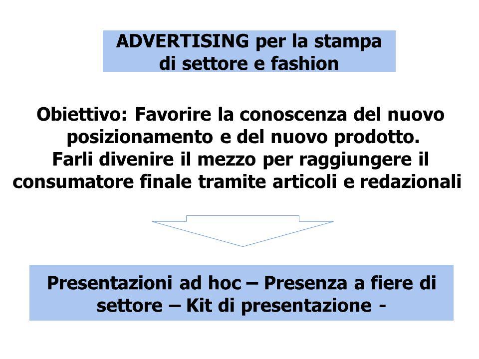 ADVERTISING per la stampa di settore e fashion Obiettivo: Favorire la conoscenza del nuovo posizionamento e del nuovo prodotto.