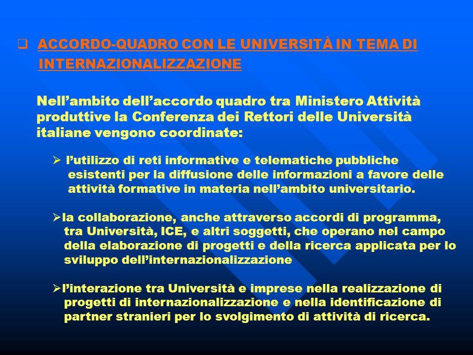 Gli sportelli dovranno svolgere la funzione di: orientamento assistenza e consulenza promozione a favore di imprese ed operatori italiani ed esteri Al