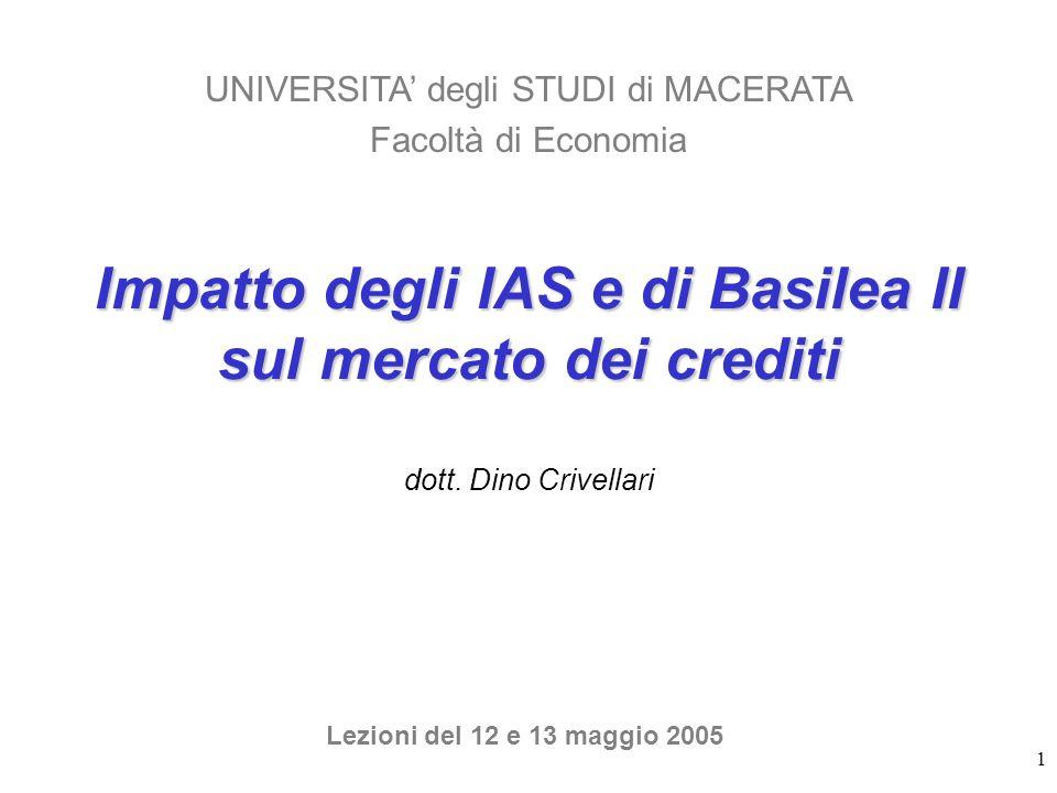 1 Impatto degli IAS e di Basilea II sul mercato dei crediti dott. Dino Crivellari UNIVERSITA degli STUDI di MACERATA Facoltà di Economia Lezioni del 1