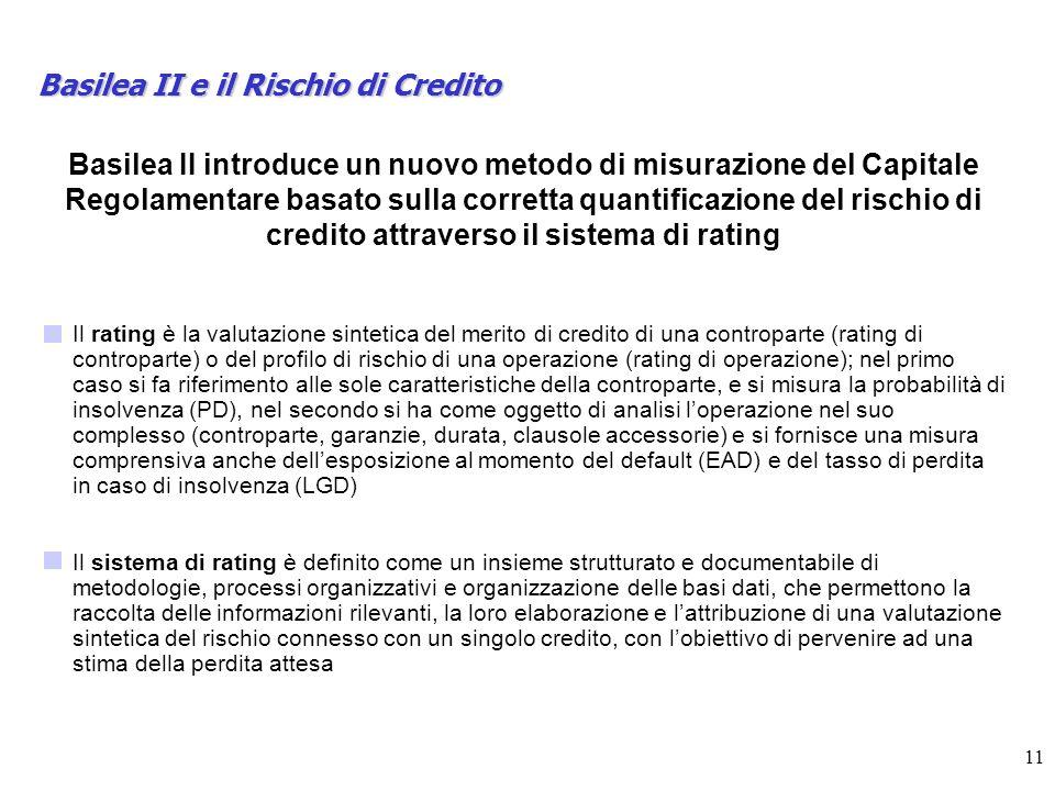 11 Basilea II e il Rischio di Credito Basilea II introduce un nuovo metodo di misurazione del Capitale Regolamentare basato sulla corretta quantificazione del rischio di credito attraverso il sistema di rating Il rating è la valutazione sintetica del merito di credito di una controparte (rating di controparte) o del profilo di rischio di una operazione (rating di operazione); nel primo caso si fa riferimento alle sole caratteristiche della controparte, e si misura la probabilità di insolvenza (PD), nel secondo si ha come oggetto di analisi loperazione nel suo complesso (controparte, garanzie, durata, clausole accessorie) e si fornisce una misura comprensiva anche dellesposizione al momento del default (EAD) e del tasso di perdita in caso di insolvenza (LGD) Il sistema di rating è definito come un insieme strutturato e documentabile di metodologie, processi organizzativi e organizzazione delle basi dati, che permettono la raccolta delle informazioni rilevanti, la loro elaborazione e lattribuzione di una valutazione sintetica del rischio connesso con un singolo credito, con lobiettivo di pervenire ad una stima della perdita attesa