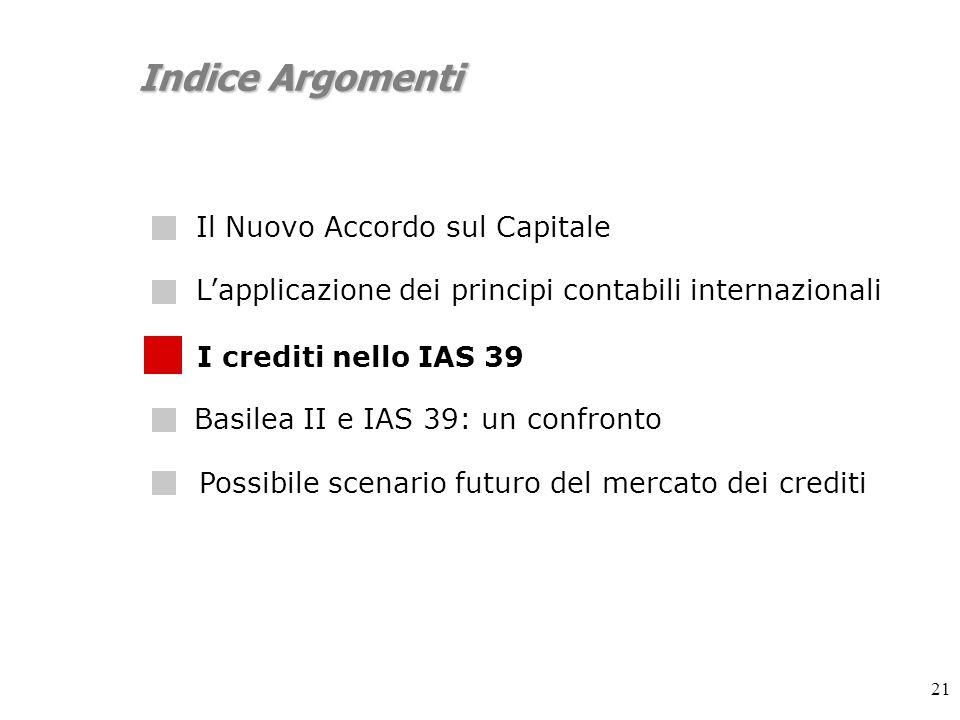 21 Indice Argomenti Lapplicazione dei principi contabili internazionali I crediti nello IAS 39 Possibile scenario futuro del mercato dei crediti Basilea II e IAS 39: un confronto Il Nuovo Accordo sul Capitale