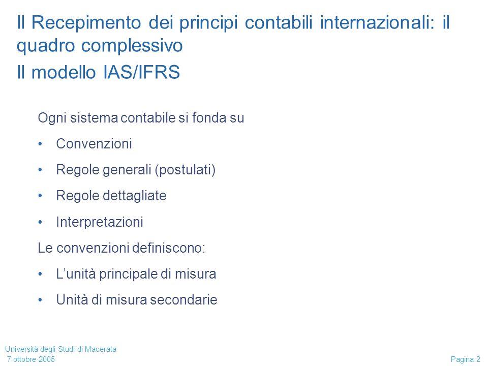 Università degli Studi di Macerata 7 ottobre 2005 Pagina 2 Il Recepimento dei principi contabili internazionali: il quadro complessivo Il modello IAS/IFRS Ogni sistema contabile si fonda su Convenzioni Regole generali (postulati) Regole dettagliate Interpretazioni Le convenzioni definiscono: Lunità principale di misura Unità di misura secondarie
