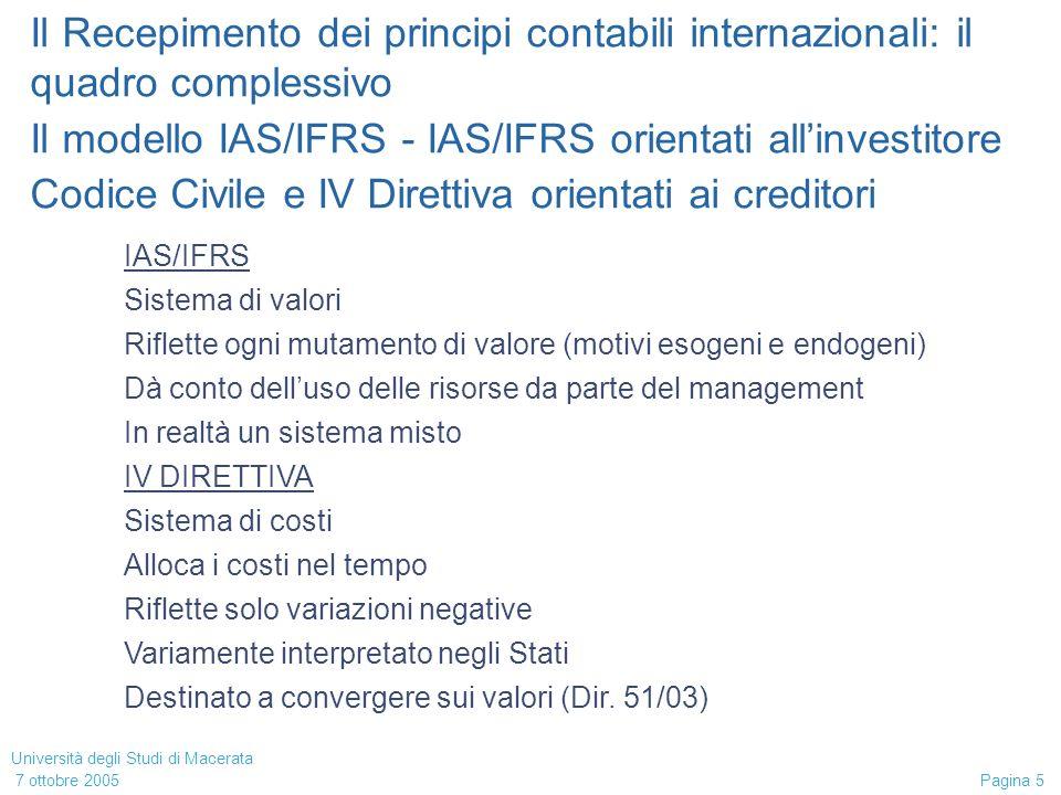 Università degli Studi di Macerata 7 ottobre 2005 Pagina 16 Il Recepimento dei principi contabili internazionali: il quadro complessivo Il modello IAS/IFRS - Alcuni aspetti delle definizioni economiche Sono generali e non prevedono distinzioni (es.
