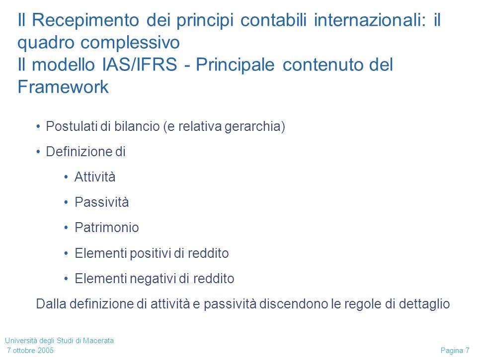 Università degli Studi di Macerata 7 ottobre 2005 Pagina 18 Impairment test su partecipazioni di controllo Avviamento in consolidatotiene.
