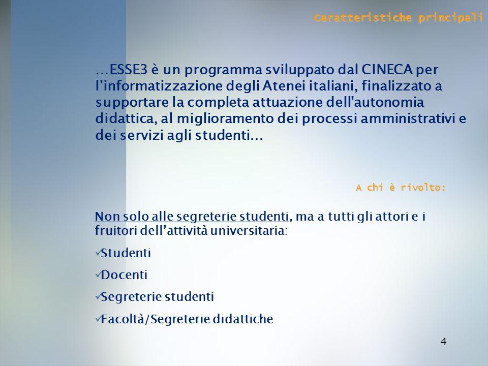 4 Caratteristiche principali …ESSE3 è un programma sviluppato dal CINECA per l'informatizzazione degli Atenei italiani, finalizzato a supportare la co