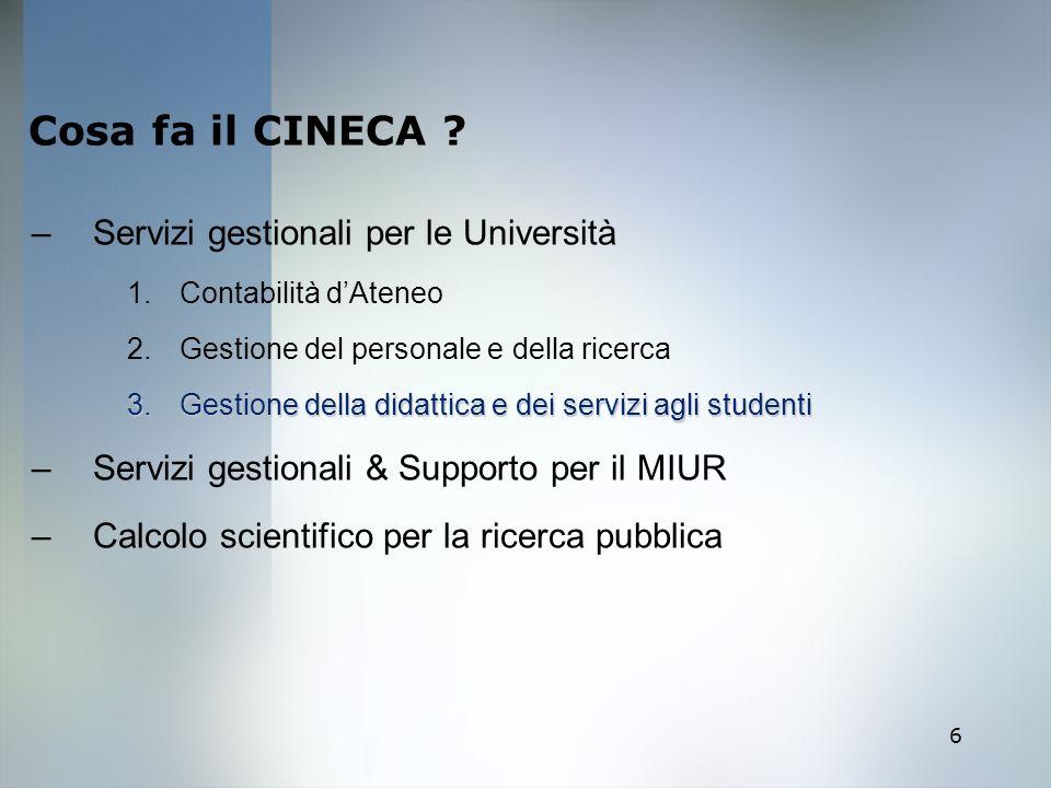 6 Cosa fa il CINECA ? –Servizi gestionali per le Università 1.Contabilità dAteneo 2.Gestione del personale e della ricerca 3.Gestione della didattica