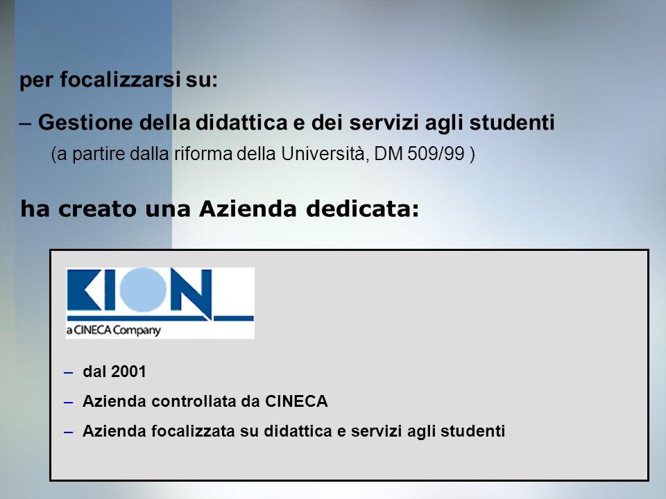 7 per focalizzarsi su: –Gestione della didattica e dei servizi agli studenti (a partire dalla riforma della Università, DM 509/99 ) ha creato una Azie
