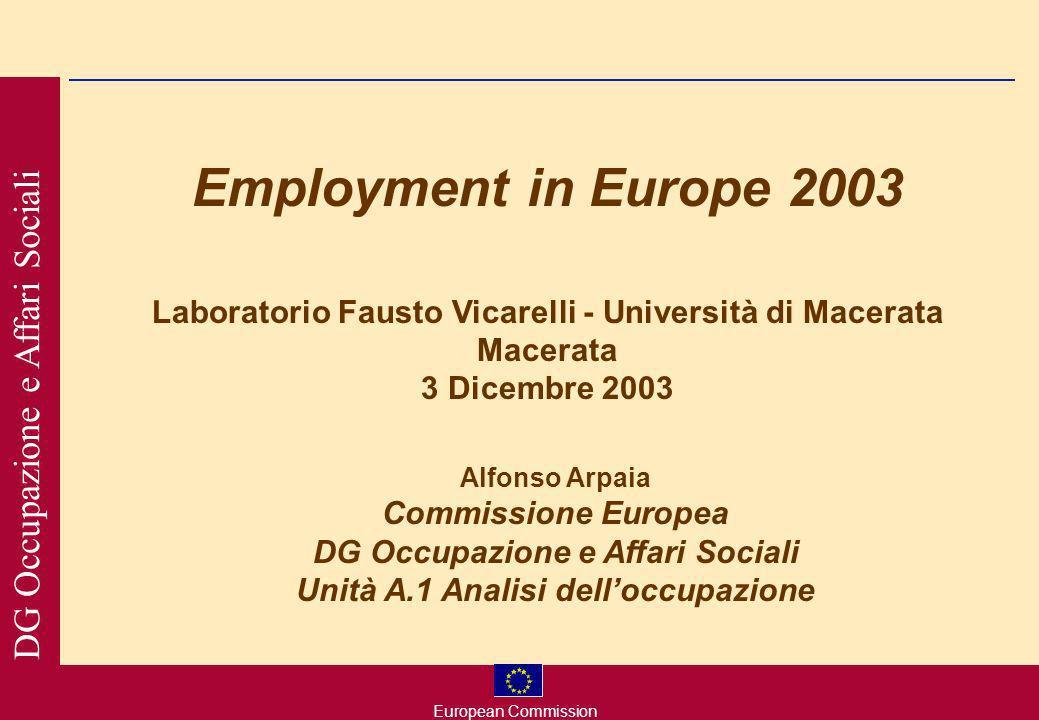 European Commission DG Occupazione e Affari Sociali Employment in Europe 2003 Laboratorio Fausto Vicarelli - Università di Macerata Macerata 3 Dicembre 2003 Alfonso Arpaia Commissione Europea DG Occupazione e Affari Sociali Unità A.1 Analisi delloccupazione