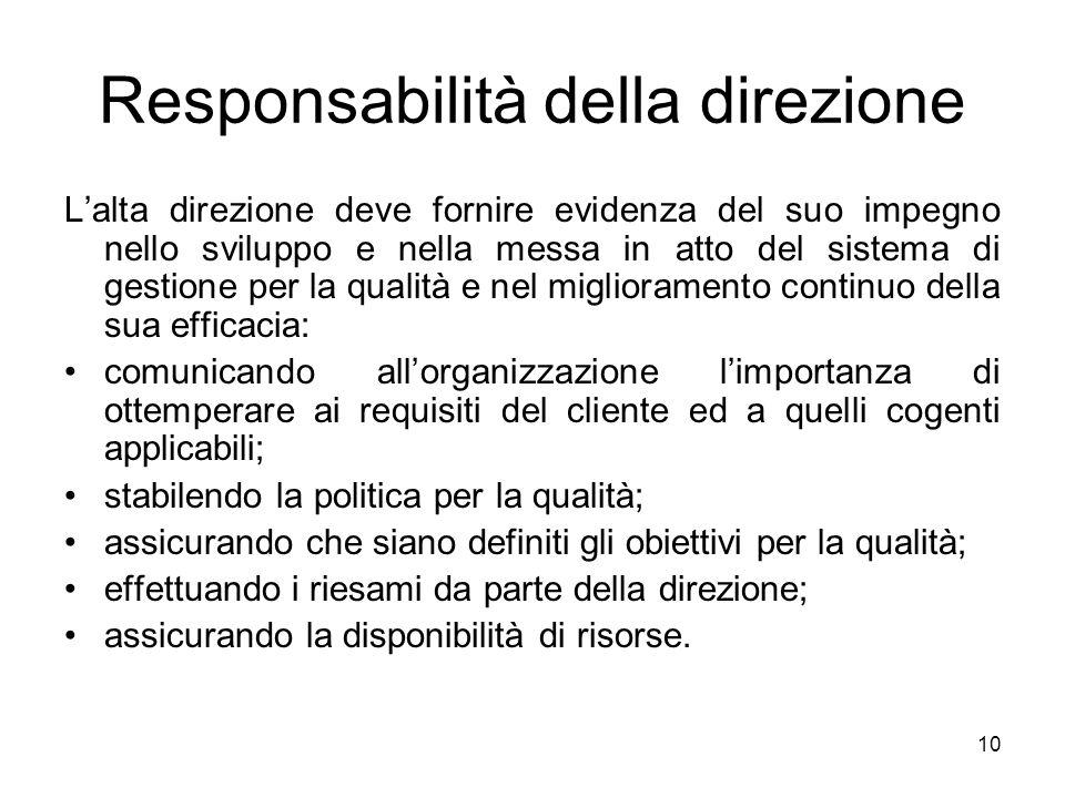 10 Responsabilità della direzione Lalta direzione deve fornire evidenza del suo impegno nello sviluppo e nella messa in atto del sistema di gestione p