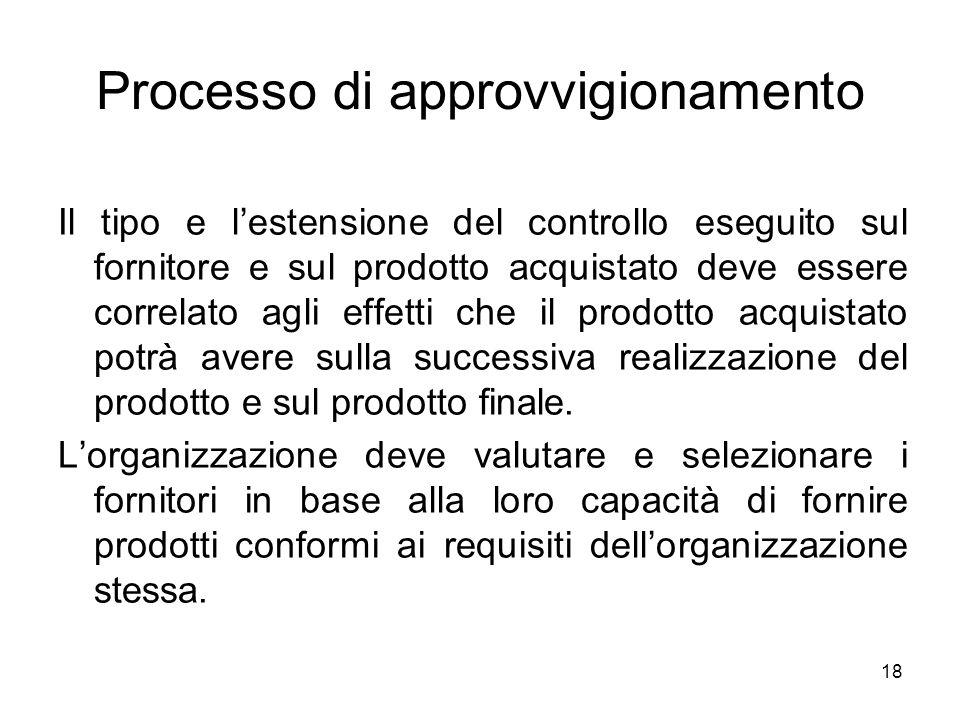 18 Processo di approvvigionamento Il tipo e lestensione del controllo eseguito sul fornitore e sul prodotto acquistato deve essere correlato agli effe