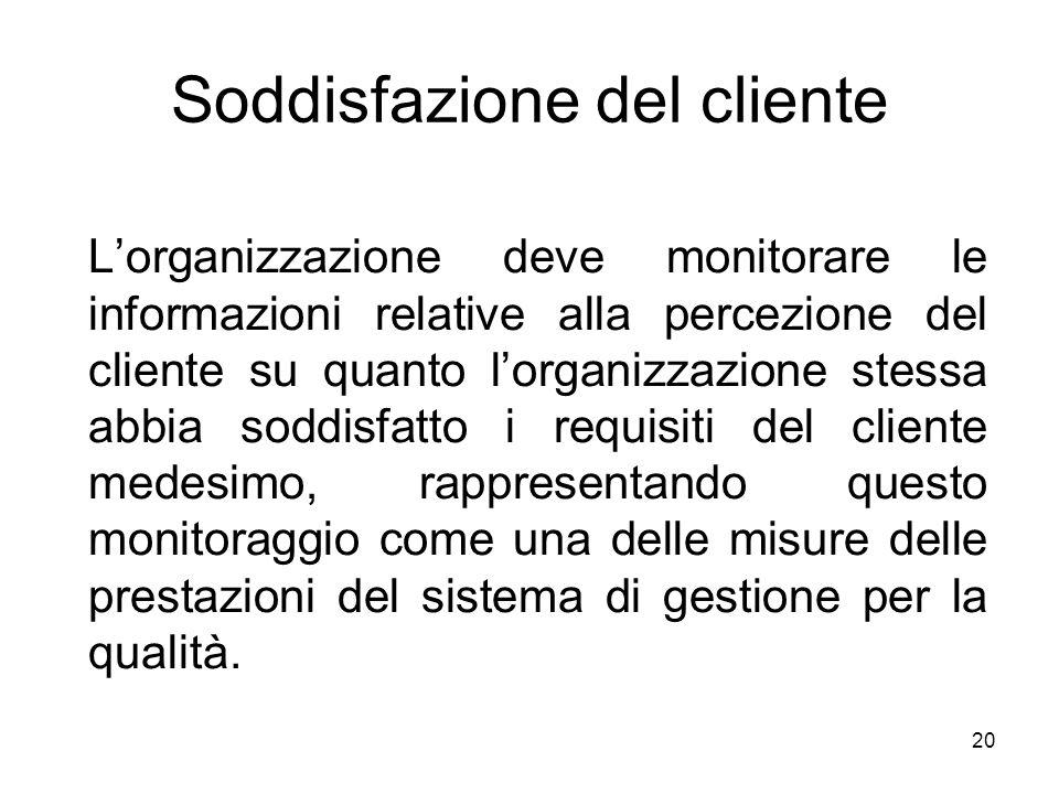 20 Soddisfazione del cliente Lorganizzazione deve monitorare le informazioni relative alla percezione del cliente su quanto lorganizzazione stessa abb